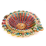 Designer Diwali Earthen Diyas - Set of 2 - Design II
