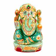 Exotic Ganesh Idol in Green Jade - 676 gms