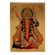 Kalighat Kali Photo in Golden Sheet - Large