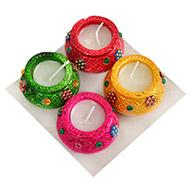 Decorative Earthern lamps - Set of 4 - Wax Diyas