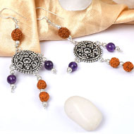 Amethyst and Rudraksha Earring - II