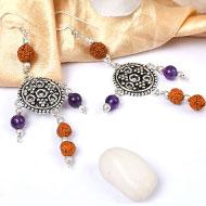 Amethyst and Rudraksha Earring - II
