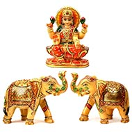 Yellow Jade Gaja Lakshmi with set of 2 Elephants