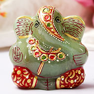 Exotic Ganesh Idol in Green Jade - 100 gms