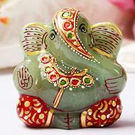 Exotic Ganesh Idol in Green Jade - 100 gms