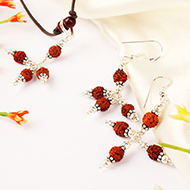 Earrings of Rudraksha Beads with Pendant