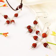 Earrings of Rudraksha Beads with Pendant