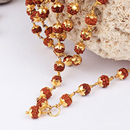 Rudraksha Mala 5mm in gold with flower caps