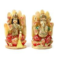Divine Laxmi Ganesh on hand figurine in Yellow Jade
