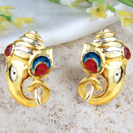 Gold Plated Ganesh Earrings - I