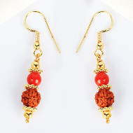 Rudraksha and Coral in Gold Earring Set