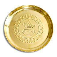 Brass Puja Plate - Kalash Design
