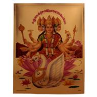 Punchmukhi Gayatri Photo in Golden Sheet - Large