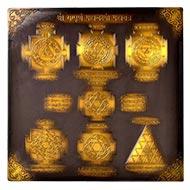 Shree Sampoorna Mahalaxmi Maha yantra - Antique finish - 9 inches