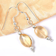 Yellow Topaz Oval bead Earring - I