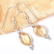 Yellow Topaz Oval bead Earring - I