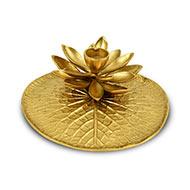 Lotus Diya Leaf Plate in brass