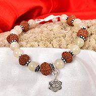 10 Mukhi Rudraksha and Moonstone Bracelet - I (Sacral)
