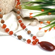 Orange Carnelian and Rudraksha beads Mala
