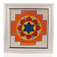Krishna Yantra on silk with frame