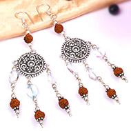 Rudraksha Blue Topaz Earring - II