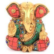 Elephant ear Ganesha with Stone Work - Small