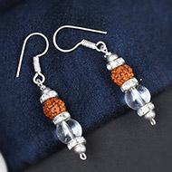 Rudraksha and Quartz Earring - Design I