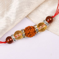 4 Mukhi Rakhi Citrine and Gomed Beads with German silver accessories