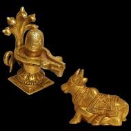 Shivaling with Nandi in Brass - VI