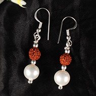 Rudraksha and Pearl Earring set