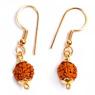 Rudraksha and Gold Earring Set with Gold Caps - 9mm