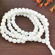 White Jade Faceted mala - 8mm