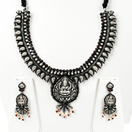 Lakshmi Necklace and Earrings set in pure silver - I
