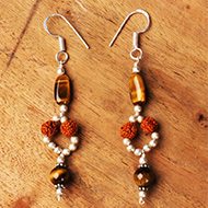 Rudraksha Tiger Eye Earrings - I