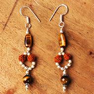 Rudraksha Tiger Eye Earrings - I