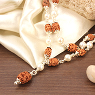 2 mukhi with Pearl mala in flower caps