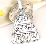 Om Namah Shivaya Locket - in Pure Silver - Design VIII