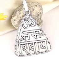 Om Namah Shivaya Locket - in Pure Silver - Design VIII