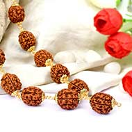 5 mukhi Guru mala in copper gold polish caps - 15 mm