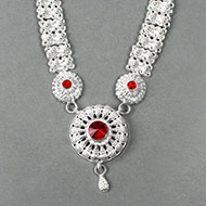 Floral Designer Necklace in pure silver - III