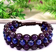 Red Sandal beads with Lapis Lazuli and Amethyst Faceted beads bracelet