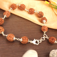 Rudraksha Bracelet in silver caps - 10mm