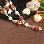 2 mukhi with Pearl mala in self designed caps