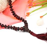 Red sandalwood elliptical beads mala - 8mm