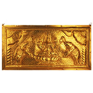Mahalaxmi in brass wall plate