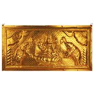 Mahalaxmi in brass wall plate
