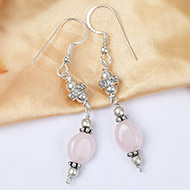 Rose Quartz Oval bead Earring