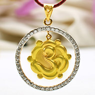 Om and Swastik Locket in Pure Gold - 3.86 gms
