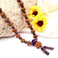 9 mukhi Durga Mala from Java with Amethyst beads