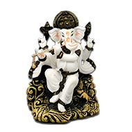 Ganesha with Flute in Bonded Marble